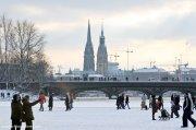 Hamburg zugefrorene Binnenalster
